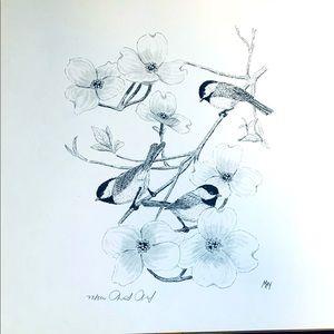 Unframed pen&ink print by Martin May Chickadees